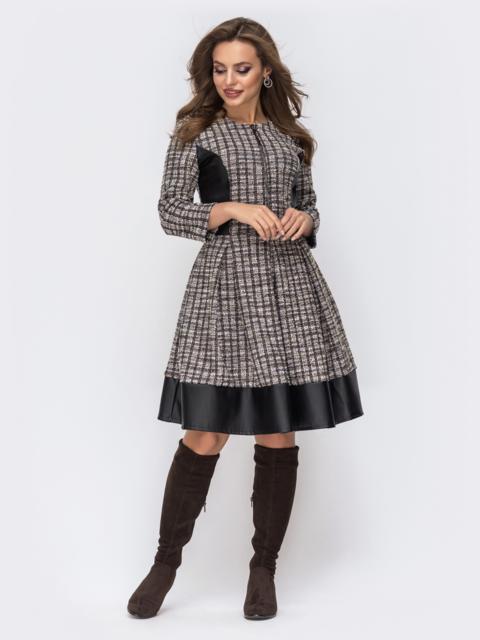 Трикотажное платье серого цвета с контрастными вставками 42577, фото 1