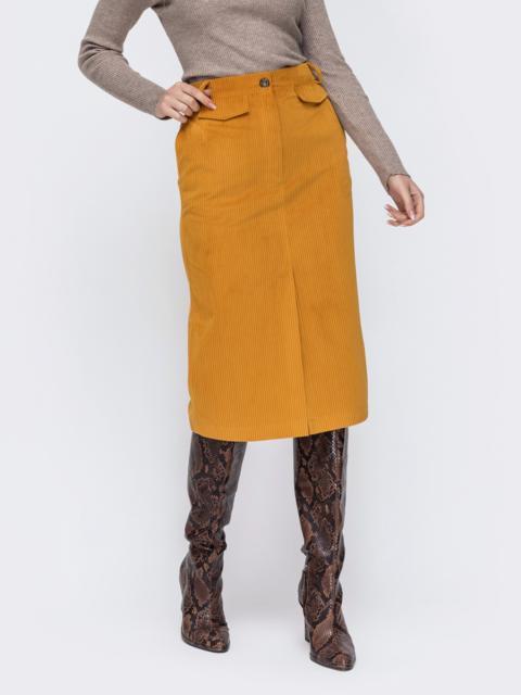 Вельветовая юбка с высоким разрезом спереди желтая 44902, фото 1