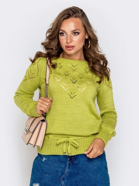 Ажурный свитер с кулиской по низу зеленый - 41163, фото 1 – интернет-магазин Dressa