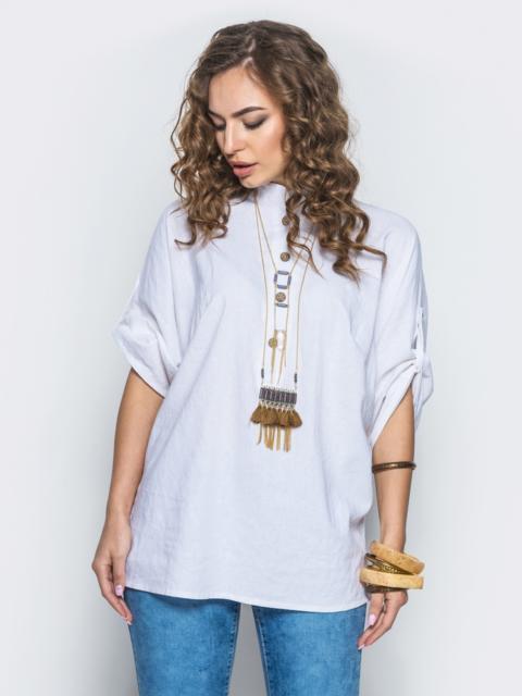 """Белая блузка """"летучая мышь"""" с деревянными пуговицами 12300, фото 1"""