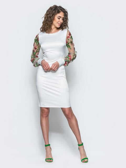 Белое платье с рукавами из фатиновой сетки с цветами - 12647, фото 1 – интернет-магазин Dressa