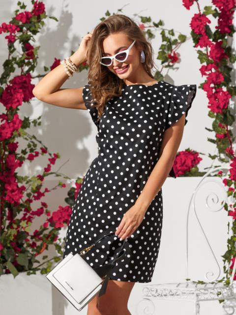Хлопковое платье в горох с бантом по спинке чёрное - 39212, фото 1 – интернет-магазин Dressa