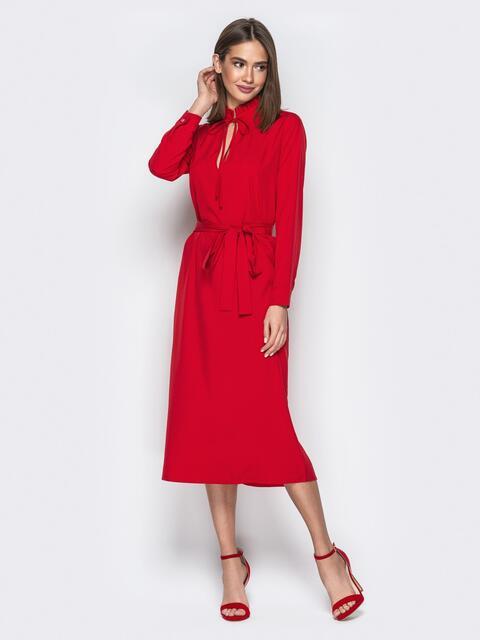 Красное платье прямого кроя с вырезом на завязках - 21358, фото 1 – интернет-магазин Dressa