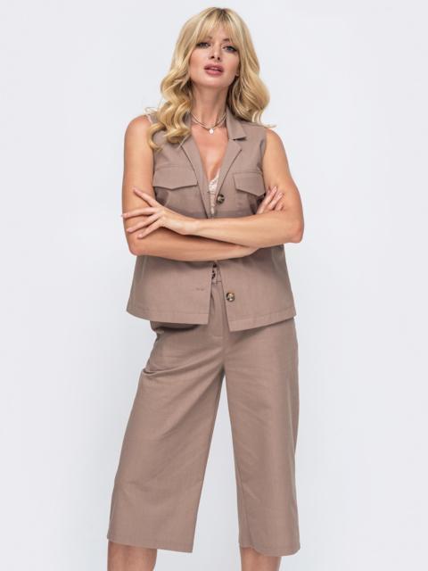 Льняной комплект из блузки и брюк-кюлотов бежевый 50042, фото 1
