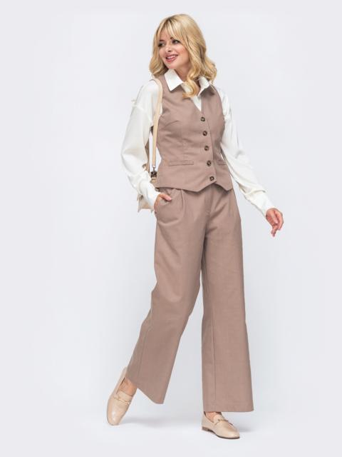 Льняной комплект из жилета и широких брюк бежевый 50041, фото 1