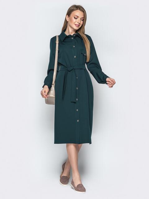 Платье-рубашка зелёного цвета с карманами и поясом - 20631, фото 1 – интернет-магазин Dressa