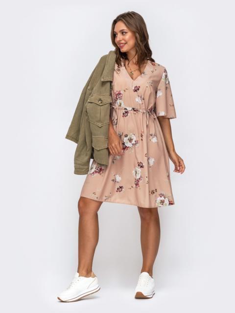 Платье в цветочный принт с кулисками по талии бежевое 50031, фото 1