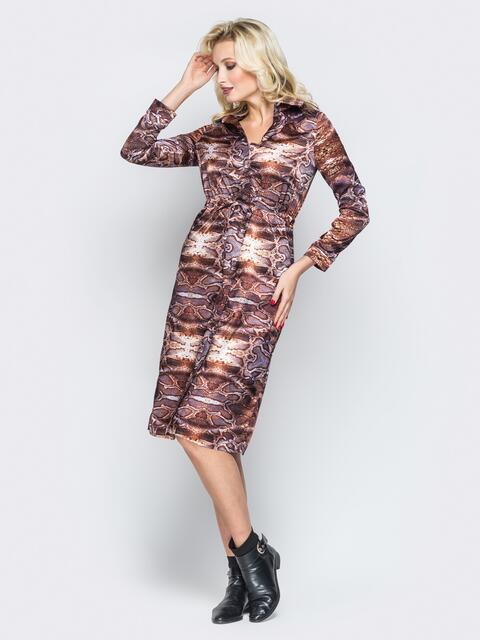 Принтованное платье-рубашка с кулиской на талии - 19665, фото 1 – интернет-магазин Dressa