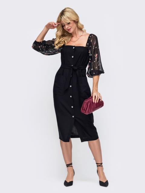 Приталенное платье с шифоновыми рукавами чёрное 50030, фото 1