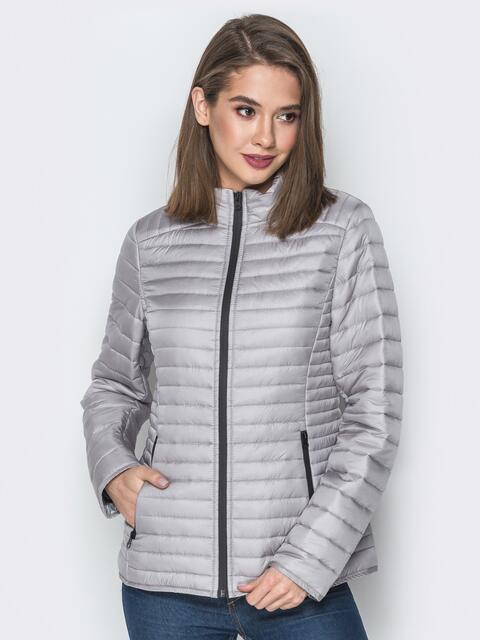 Серая куртка с воротником-стойкой и карманами - 20290, фото 1 – интернет-магазин Dressa