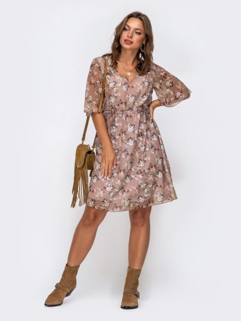 Шифоновое платье в цветочный принт с кулисками по талии бежевое 50028, фото 1