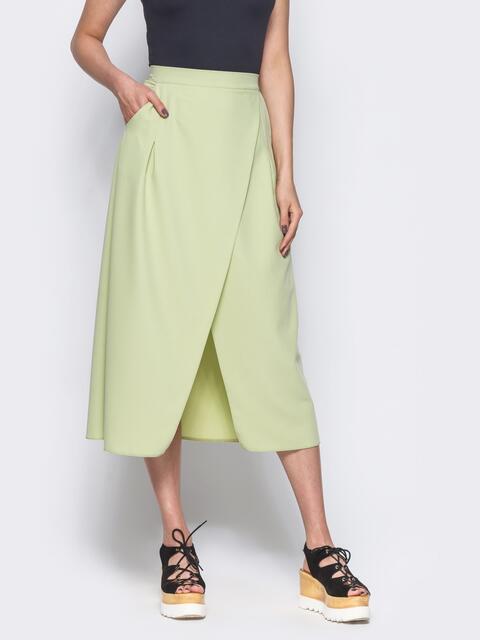 Зеленая юбка-миди на запах из костюмной ткани - 12169, фото 1 – интернет-магазин Dressa