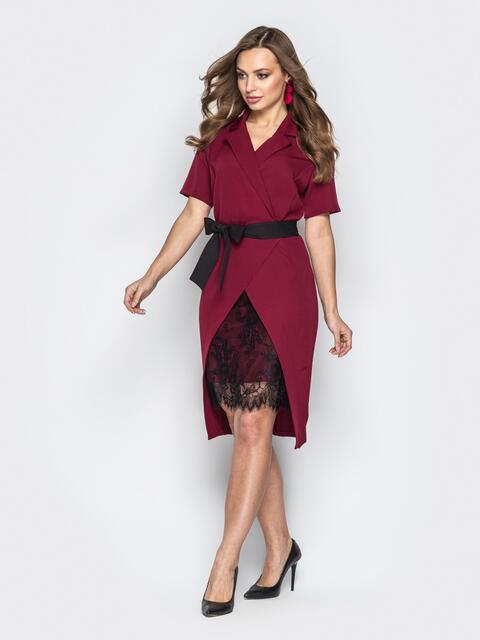 40f1a131f5e Асимметричное платье с запахом и вставкой из гипюра бордовое 20797 ...