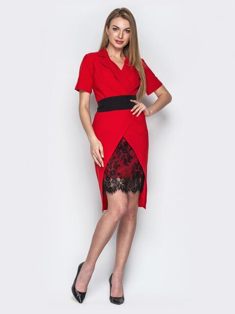 eb60555b34a Асимметричное платье с запахом и вставкой из гипюра красное 20796 ...