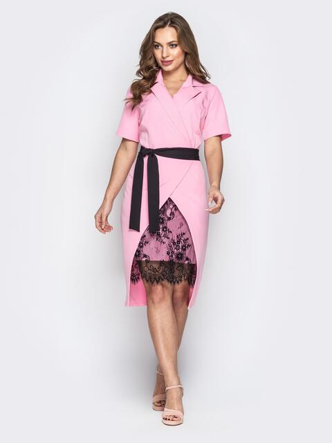 57458af71b9 Асимметричное платье с запахом и вставкой из гипюра розовое 20795 ...