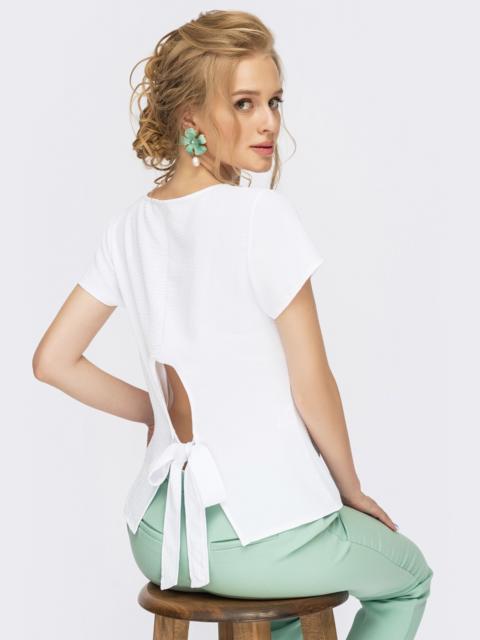 Белая блузка с коротким рукавом и вырезом по спинке 54341, фото 1