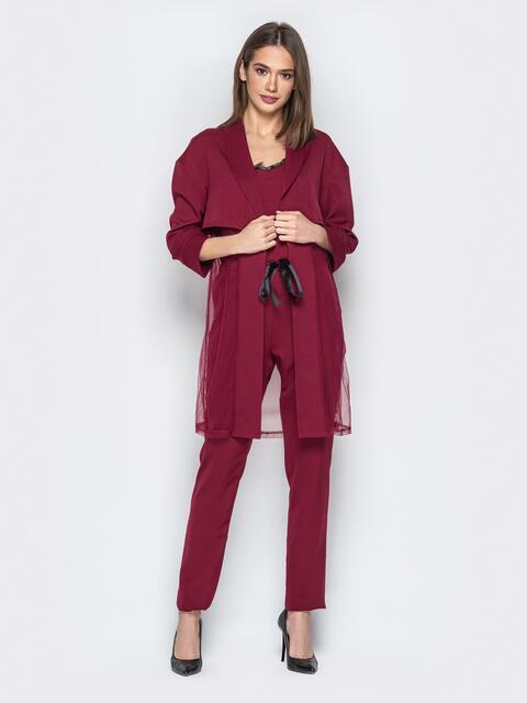 Бордовый комплект с комбинезоном на тонких бретелях - 20788, фото 1 – интернет-магазин Dressa