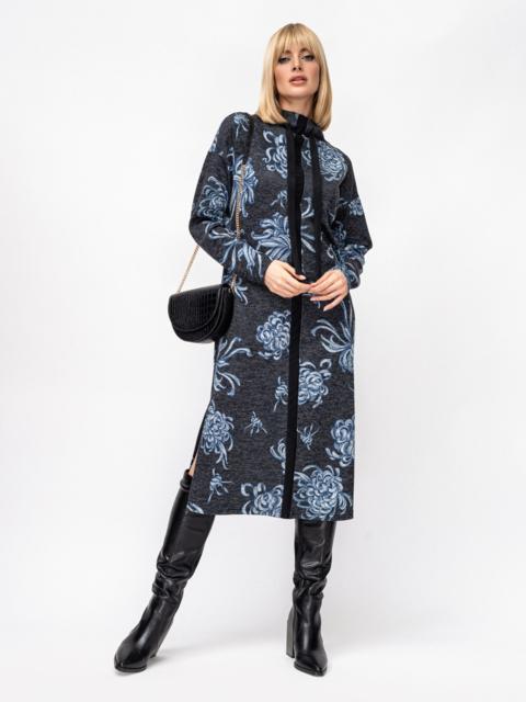 Черное платье с принтом и разрезами по бокам 52853, фото 1