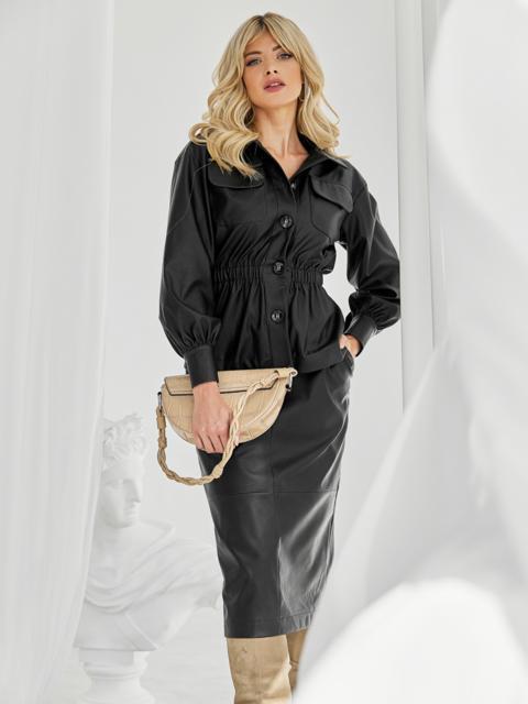Чёрный комплект из искусственной кожи с жакетом и юбкой 50068, фото 1