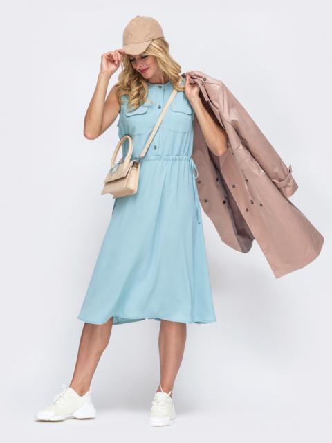 Голубое платье без рукавов с нагрудными карманами 50071, фото 1