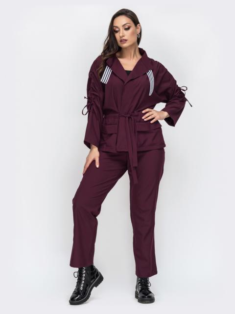Комплект большого размера с жакетом бордовый - 44581, фото 1 – интернет-магазин Dressa