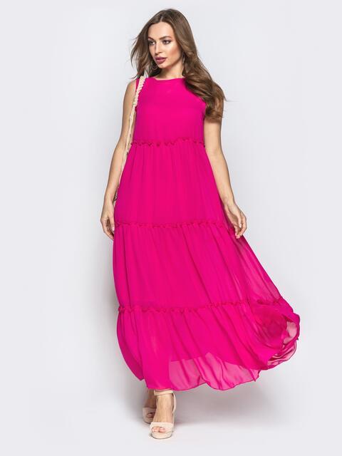 c00f6980fd5 Многоярусное платье-макси с завышеной талией малиновое 22322 ...