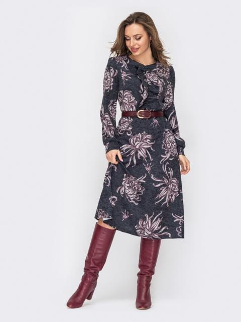 Принтованное платье черного цвета с жабо и юбкой-трапецией 52855, фото 1