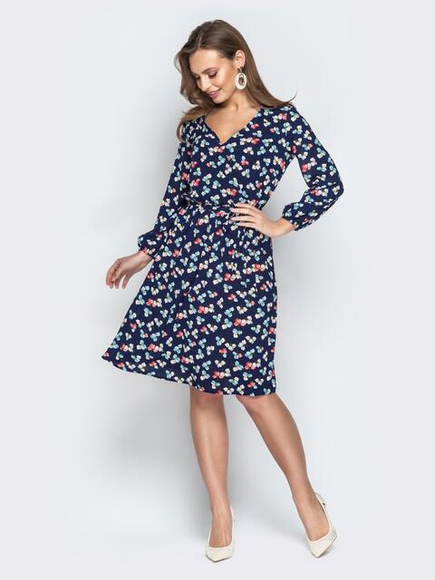 Принтованное платье на фиксированный запах тёмно-синее - 20989, фото 1 – интернет-магазин Dressa