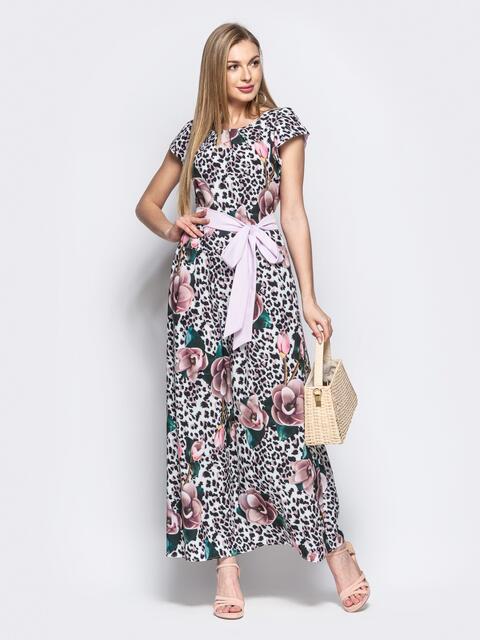 Принтованное платье приталенного кроя с поясом коричневое 21753, фото 1