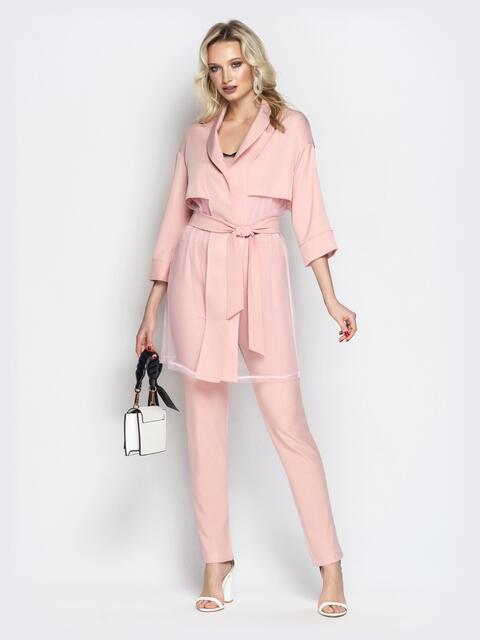 Розовый комплект с комбинезоном на тонких бретелях - 20789, фото 1 – интернет-магазин Dressa