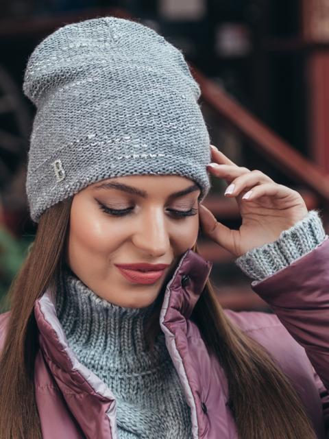 Серая шапка-колпак с напылением - 40459, фото 1 – интернет-магазин Dressa