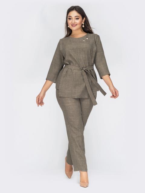 Серый комплект большого размера из кофты и брюк - 44585, фото 1 – интернет-магазин Dressa