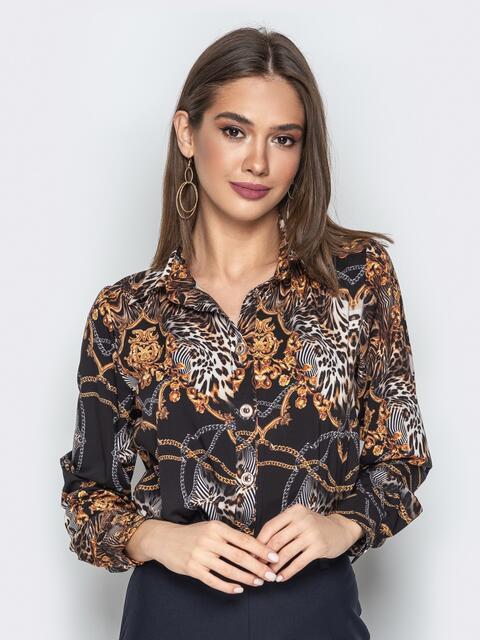 Шифоновая блузка с анималистическим принтом чёрная - 20371, фото 1 – интернет-магазин Dressa