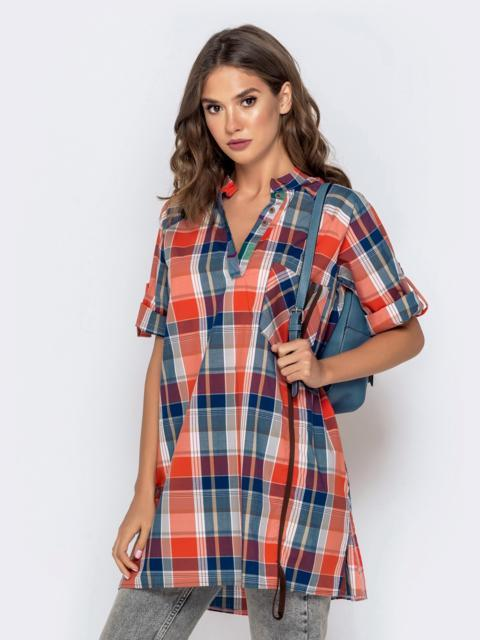 Свободная рубашка в клетку оранжевого цвета - 40838, фото 1 – интернет-магазин Dressa