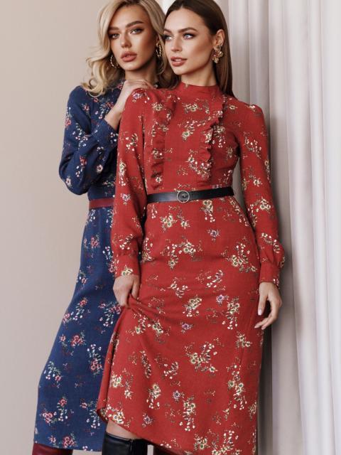 Терракотовое платье с рюшами по полочке и юбкой-трапецией 52860, фото 1