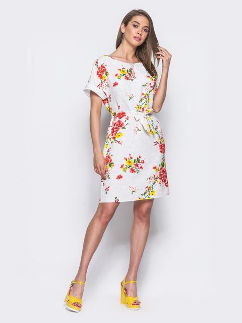 Белое платье в цветочный принт с брошкой на горловине 11401, фото 1