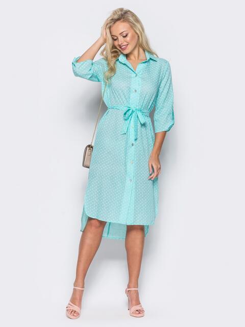 Бирюзовое платье-рубашка с рукавами 3/4 и шлевками на них - 11411, фото 1 – интернет-магазин Dressa