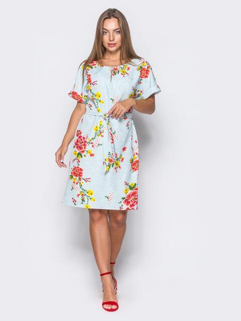 Бирюзовое платье в цветочный принт с брошкой на горловине - 11403, фото 1 – интернет-магазин Dressa