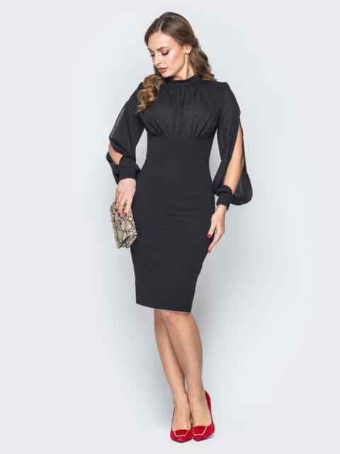 Чёрное платье-футляр с разрезами на рукавах - 20014, фото 1 – интернет-магазин Dressa