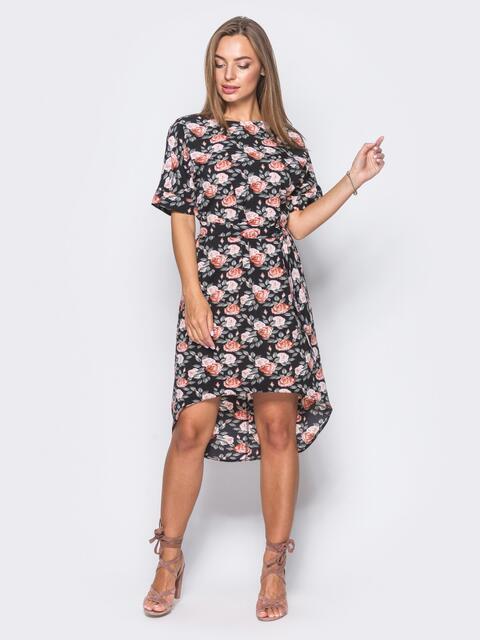 Черное платье с коротким рукавом и удлиненной спинкой - 11407, фото 1 – интернет-магазин Dressa
