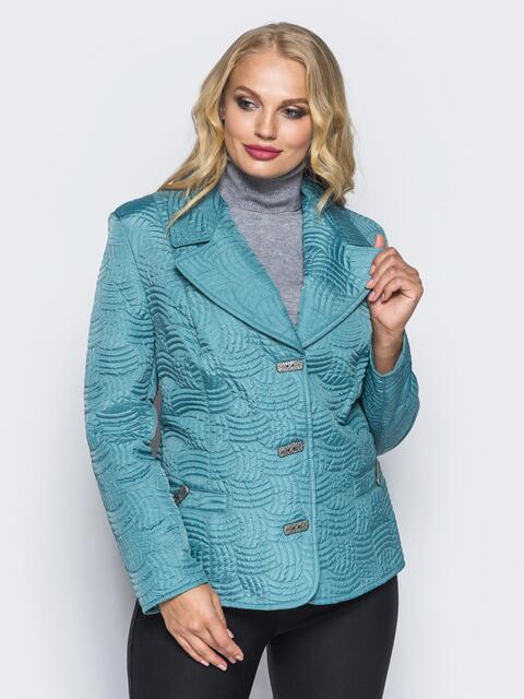 Голубая куртка на пуговицах с прорезными карманами - 16766, фото 1 – интернет-магазин Dressa