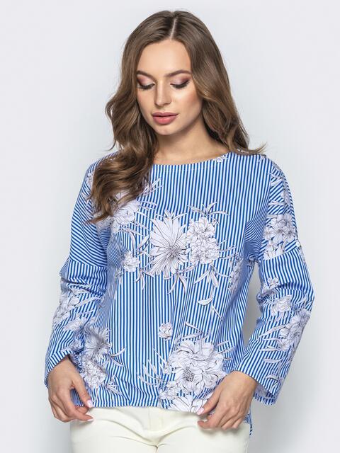 Хлопковая блузка прямого кроя с принтом - 21742, фото 1 – интернет-магазин Dressa