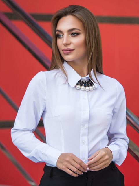Классическая блузка из софта на пуговицах - 14073, фото 1 – интернет-магазин Dressa