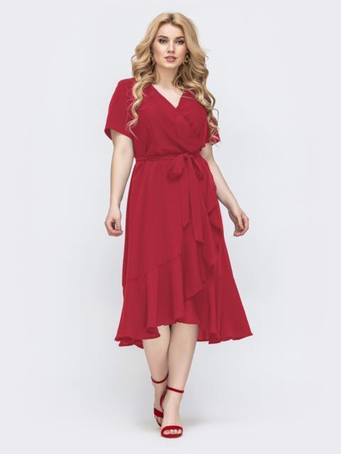 Красное платье батал с воланом по низу 49593, фото 1