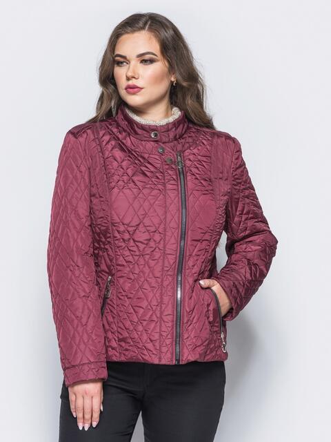 Куртка из лаке с застёжкой на воротнике бордовая - 16759, фото 1 – интернет-магазин Dressa