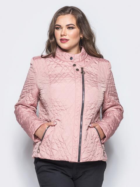 Куртка из лаке с застёжкой на воротнике розовая - 16758, фото 1 – интернет-магазин Dressa