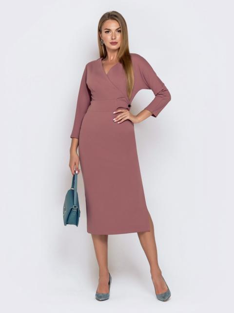 Обтягивающее платье пудрового цвета с разрезом 41033, фото 1