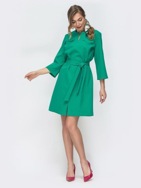 Платье прямого кроя с разрезом спереди зеленое 45548, фото 1