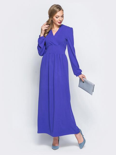 Платье с широким поясом и ложным запахом фиолетовое - 18118, фото 1 – интернет-магазин Dressa