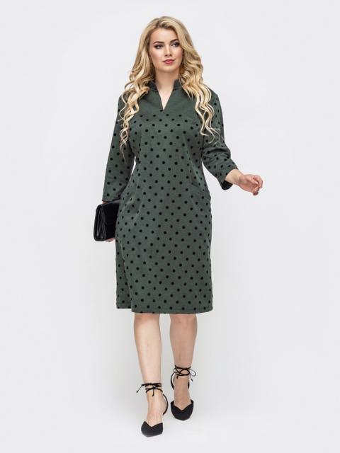 Приталенное платье батал цвета хаки в горох 50859, фото 1